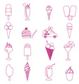 ice cream simple outline icons set eps10 vector image vector image