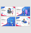 isometric online customer support templates vector image vector image