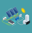 isometric solar panel cell system with hybrid vector image