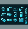 languages education set icons blue neon style vector image