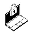 laptop computer with padlock isometric icon vector image vector image