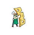 little chef with a piece of cheese vector image