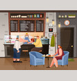 man and woman sitting with coffee in cafe vector image vector image