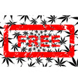 marijuana leaf pattern and rubber stamp free vector image