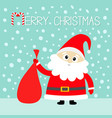 merry christmas candy cane santa claus holding vector image