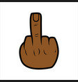 middle finger with african skin color finger vector image vector image