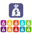 money bag with us dollar sign icons set flat vector image vector image