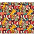 Musicians crowd seamless pattern color vector image vector image