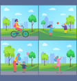 people playing in park cartoon isolated badge vector image vector image