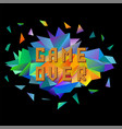 pixel game over on colorful polygonal banner vector image