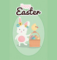 rabbit and chick with easter eggs painted in vector image vector image