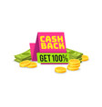 sale cashback tag money saving sign vector image vector image