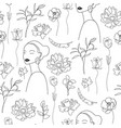 seamless pattern continuous line art vector image vector image