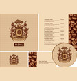 set design elements for coffee house with menu vector image vector image