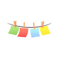 set multicolored pieces paper hanging on vector image