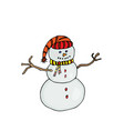 snow man colored on white vector image vector image
