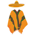 Sombrero and mexican poncho vector image