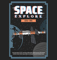 space exploration station and planets retro poster vector image vector image