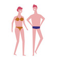 swimming suits man and woman summer beach season vector image