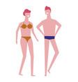 swimming suits man and woman summer beach season vector image vector image