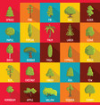 tree icons set flat style vector image vector image