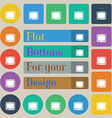 TV icon sign Set of twenty colored flat round vector image vector image