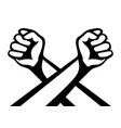 two crossed hands with fists vector image