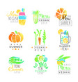 vegan menu set for logo design collection of vector image vector image