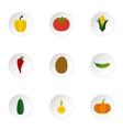 Vegetables icons set flat style vector image vector image