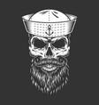 vintage mariner skull in sailor hat vector image vector image