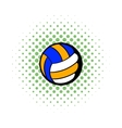 Volleyball ball icon comics style vector image vector image