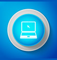white laptop with cursor icon on blue background vector image