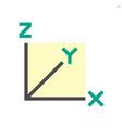 xyz axis for graph statistics display icon design vector image vector image