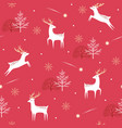 christmas deer pattern on red background vector image