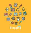 blogging color round design template line icon vector image