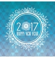 happy new year 2017 greeting card snowflakes round vector image