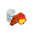 Database and firewall with chart icon vector image