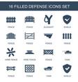 16 defense icons vector image vector image