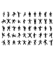 50 stick figure set vector image