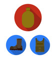Army and armament flat icons in set collection for