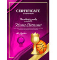 basketball certificate diploma with golden cup vector image vector image
