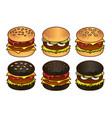 black and white burger food icon set cartoon hand vector image