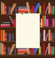 bookshelf in library with empty blank board on it vector image vector image