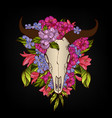 bull skull decorated with flowers tattoo vector image