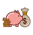 business money bag coins piggy bank vector image vector image