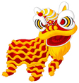 Cartoon Chinese lion dancing vector image