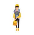 cartoon teen girl student with book vector image vector image