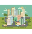 City Landscape with Buildings Cars and Roads vector image vector image