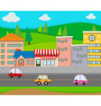 City scene with cars on the road vector image