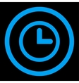Clock flat blue color rounded icon vector image